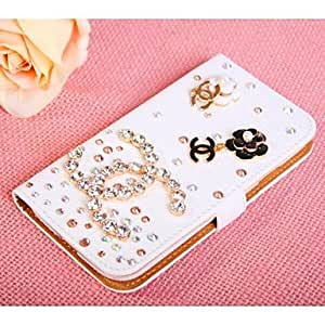 TL Diamond Flowers PU Leather Full Body Case with Stand and Card Slot for iPhone 5C