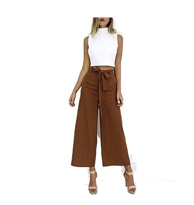 aa211491b5d52 Oudan Pantalones Flúidos para Mujer de Gran Tamaño Chic Pantalones Anchos  Elegantes con Cinturón de Verano  Amazon.es  Ropa y accesorios