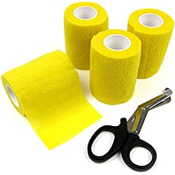 Alfie Pet by Petoga Couture - Magee Self Adherent Cohesive 4-Piece Wrap Bandages with Scissor Set - Color: Yellow, Size: 5cm