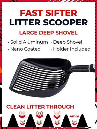 IPRIMIO Cat Litter Scooper with Deep Shovel - Non Stick Plated Aluminum Scoop - Designed by Cat Owners - Patented Sifter with Holder - Super Solid Handle - Black