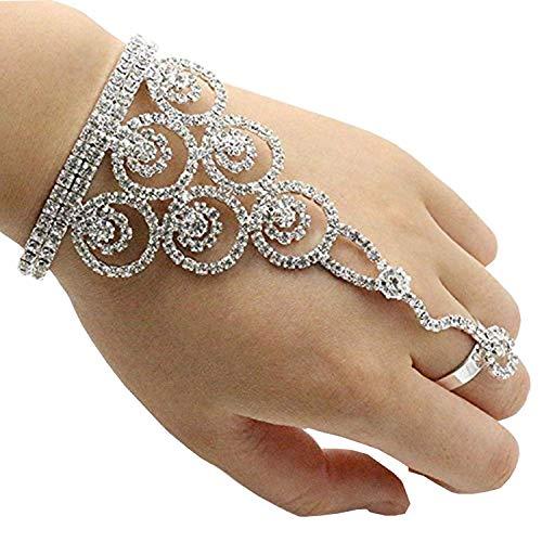 eNice Circle Crystal Bracelet Bangle Slave Chain Link Finger Ring Bracelet Hand Harness