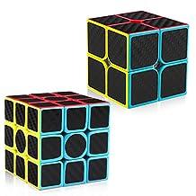 D-FantiX Carbon Fiber 2x2 3x3 Speed Cube Bundle, Magic Cube Puzzle Toys Kids