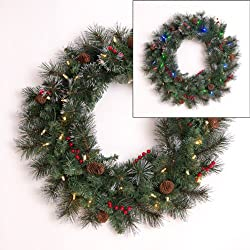 """Mr. Light 24"""" Battery Operated Indoor/ Outdoor Wreath with 35 Dual Color LEDs (Switch Between Warm White and Multicolor), Red Berries, Pine Cones, Frosted Tips; Built-in 6hr/ 24 hr Auto-Restart Electronic Timer"""
