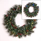 Mr. Light  24'' Battery Operated Indoor/ Outdoor Wreath with 35 Dual Color LEDs (Switch Between Warm White and Multicolor), Red Berries, Pine Cones, Frosted Tips; Built-in 6hr/ 24 hr Auto-Restart Electronic Timer