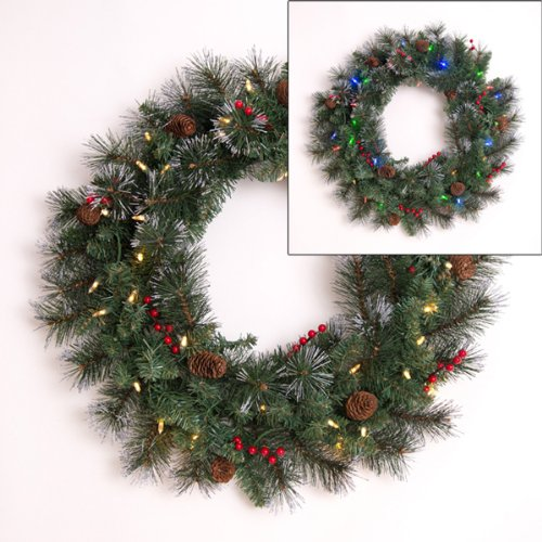 Mr Light 24in Indoor Outdoor Christmas Wreath + 35 LEDs + Timer (Large Image)