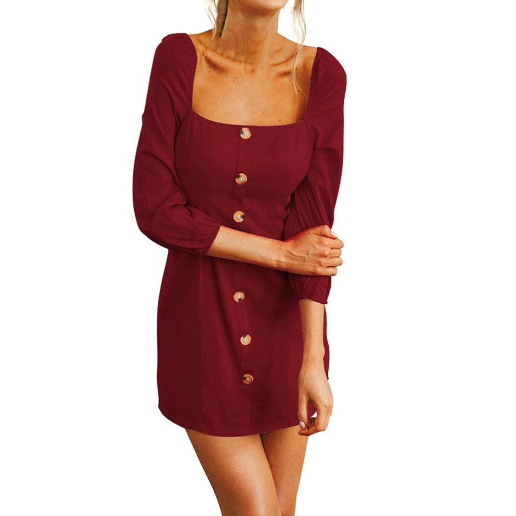 Jonerytime❤️ Womens Long Sleeve Square Neck Mini Dress Solid Button Fashion Dress (M, Wine Red)