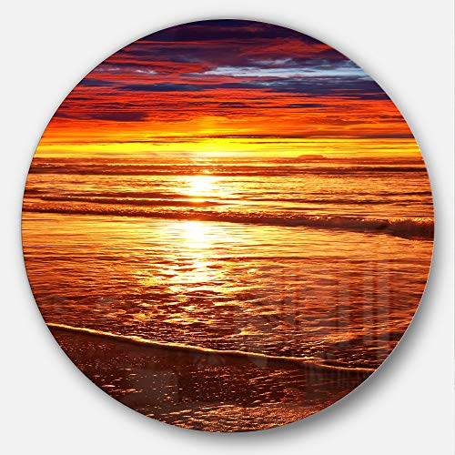Designart Colorful Sunset Mirrored in Waters Modern Beach Round Metal