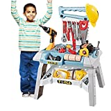 Young Choi's Toy Power Workbench, Kids Power Tool Bench Construction Set with Tools Electric Drill and Toy Helmet, Toddlers Toy Shop Tools for Boys