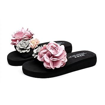 c92604d4e SLIPPERS LVZAIXI Zapatos Waichuan Sandalias Gruesas Fondo Femenino Verano  Zapatillas Hechas a Mano Zapatillas Planas de