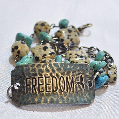 Patriotic Beaded Bracelet (Stamped Metal Western Style Beaded Bracelet
