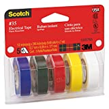 Scotch #35 Electrical Tape Value Pack, 5 Colours (Blue, Green, Red, Yellow, and White)