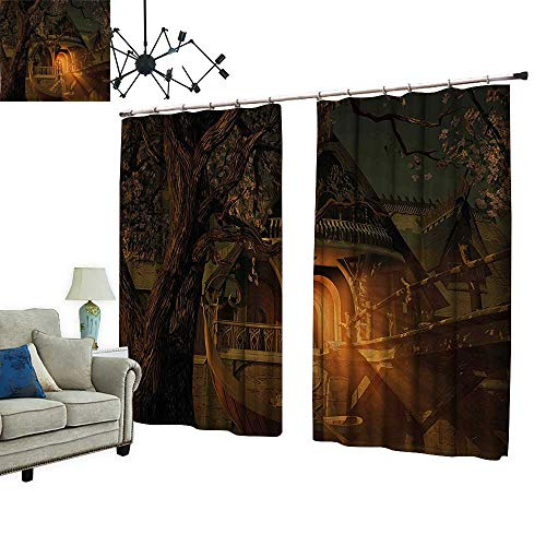 PRUNUS Blackout Curtains with Hook View with Elven Boat Floral Tree Fairytale Night Design Cinnamon Brown Sage Green Warm Home Designs,W84.3 xL72