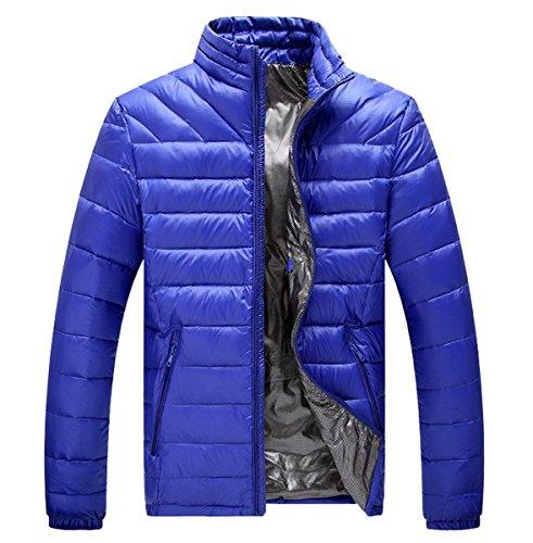Ahatech invierno acolchado chaqueta Ligero chaqueta abrigo Parka azul Men delgado de acolchada rwCPqr7
