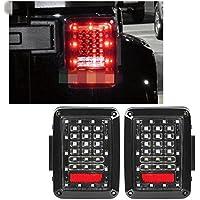 FMtoppeak Black LED Rear Tail Light Brake Turn Signal Reverse Pair Light for 07-16 Jeep Wrangler JK