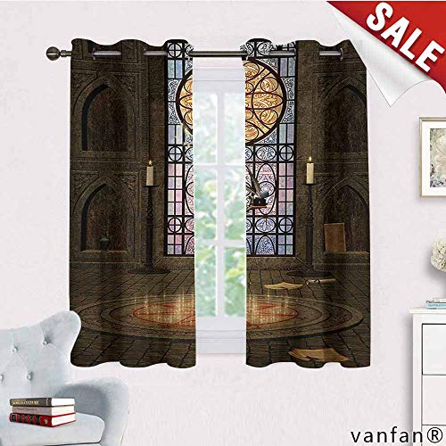 Big datastore Darkening Draperies Curtains/Drapes Panels,Gothic,Lectern On Pentagram Symbol Medieval Architecture Candlelight in Dark Altar,for Bedroom 2 Panels,Olive Green Mustard,W72 Xl63