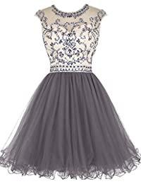 ALAGIRLS Beaded Prom Dress Short Tulle Homecoming Dress Hollow Back
