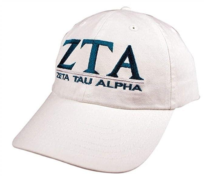Greekgear Zeta Tau Alpha ZTA World Famous Line Hat White at Amazon ... e91a34489642