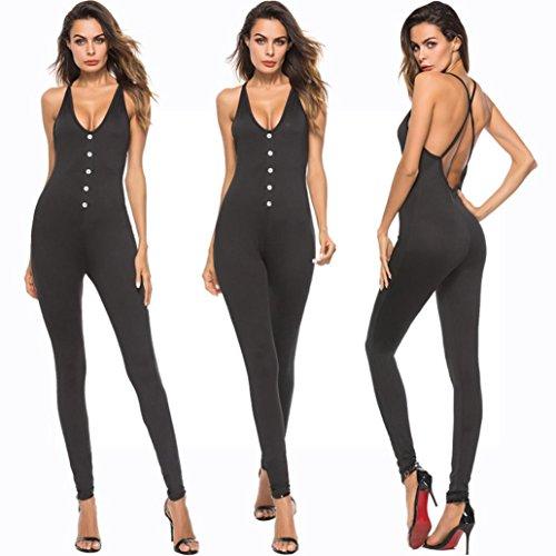 Backless pour Sexy Cou Combinaison Party Cocktail Profonde Pantalon Sling SoirE Ete Multiple Noir Jumpsuit Strappy Coton Chic Femmes V Noir Moulante OHQ Halter Deep t76wq7aP