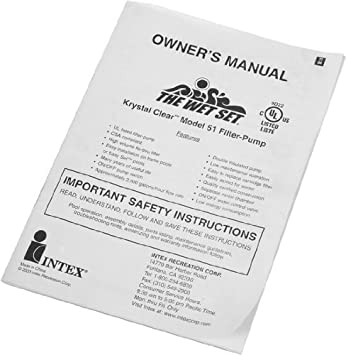 Instruction Manual For 1500 Gph Intex Pool Filter Pump Amazon