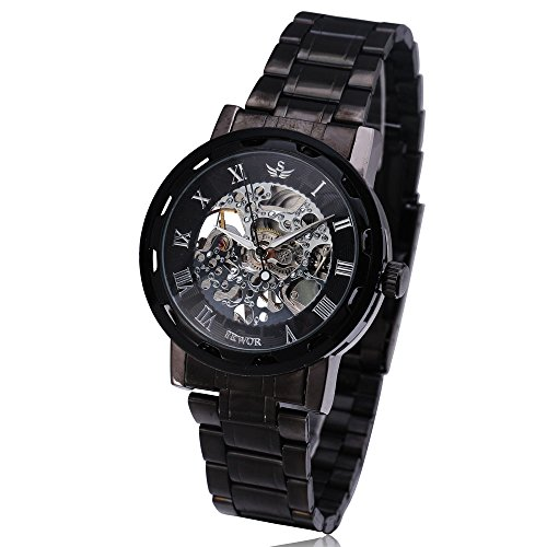 SEWOR Brand Luxury Skeleton Mechanical Watch Men Stainless Steel Design Class Hand Wind Men's Watches