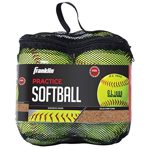 """Franklin Sports Practice Softballs - Youth Softballs Great for Kids - Official Size + Weight Softball - Perfect for Practice - 12"""" Yellow - 4 Pack"""