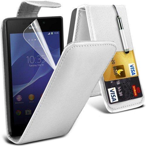 Sony Xperia M2 Leather Flip Case Cover (Blanco) Plus de regalo libre, Protector de pantalla y un lápiz óptico, Solicitar ahora mejor caja del teléfono Valorado en Amazon! By FinestPhoneCases