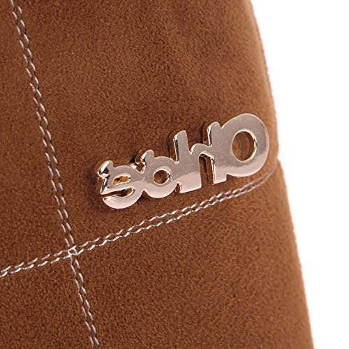 Toe Plush Material Closed 5 Brown 4 PU Solid Heels short M Round US B Womens High Soft AmoonyFashion Boots 1tgq44