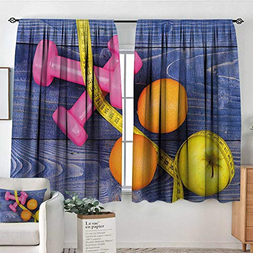 "All of better Fitness Room Darkening Curtains Womens Dumbbells Apples Oranges Measuring Tape Eat Clean Live Active Theme Objects Customized Curtains 63"" W x 72"" L Multicolor"