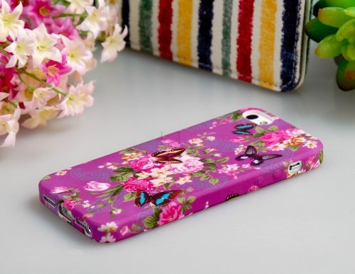 ETOU Butterfly & Floral Print TPU Rubber Case for iPhone 5