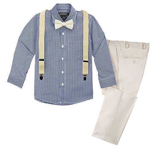(Spring Notion Boys' 4-Piece Suspenders Outfits Spring Collection 7 Off-White/Dark)
