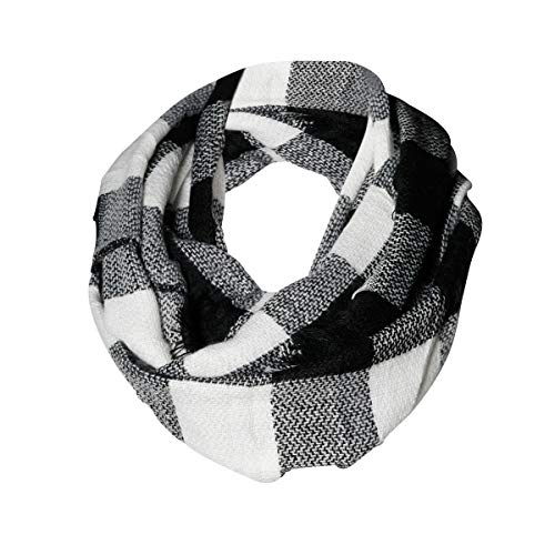 Black & White Buffalo Check Infinity Scarf Funky Monkey Fashion Warm Cozy Scarves