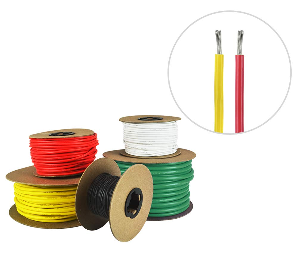 18 AWG Marine Wire - Tinned Copper Primary Boat Cable - 25 Feet Red, 25 Feet Yellow - Made in The USA by Common Sense Marine