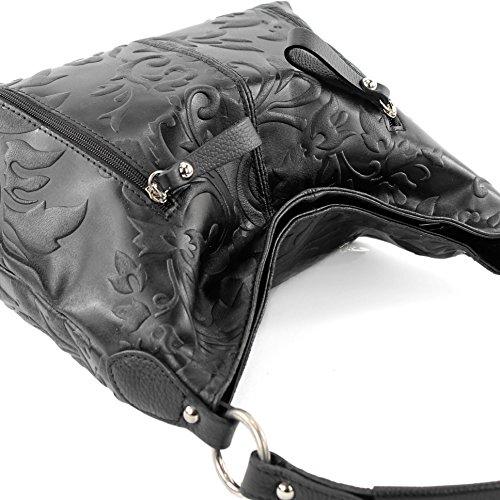 modamoda de - Made in Italy - Bolso de asas para mujer ver descripción MS12-A Schwarz