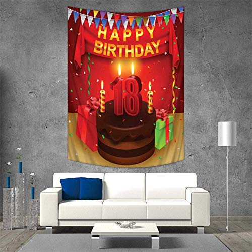 18th Birthday Tapestry Wall Tapestry 18 Happy Birthday Party with Curtains Cakes Baloons Adulthood Image Art Wall Decor 51W x 60L INCH Red and Burgundy -