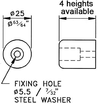 "Eight Penn Elcom F1692 Rubber Cabinet Foot 1/"" Dia x 0.5625/"" H Heavy-duty"