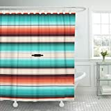 Emvency Shower Curtain Turquoise Orange Navajo White Stripes Mexican Serape with Threads Native American Ethnic Boho Waterproof Polyester Fabric 72 x 72 inches