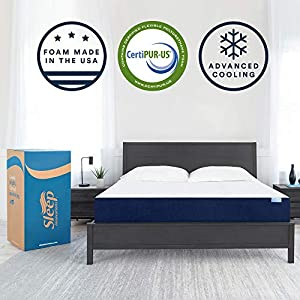 Sleep Innovations Marley Queen 10 Inch Cooling GelMemory Foam Mattress ina Box – Made in USA – MediumFirm – Pressure Relieving