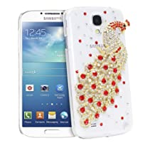 Fosmon GEM Series 3D Peacock Design Bling Case for Samsung Galaxy S4 S IV / GT-I9500 - Fosmon Retail Packaging (Red & Gold)