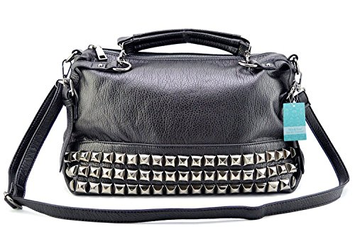 Mn&Sue Modern Punk Pu Leather Cross Body Silvery Rivet Studded Shoulder Nightclub Hobo Handbag for Lady by Mn&Sue (Image #2)