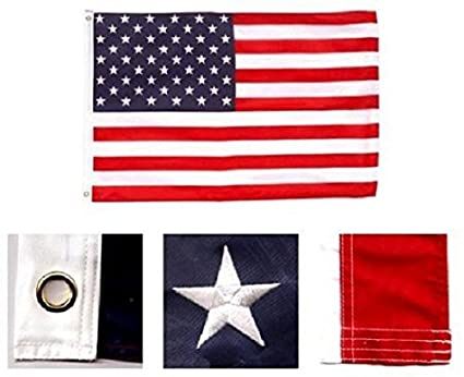 5/' X 8/' U.S.// USA  AMERICAN FLAG NYLON EMBROIDERED SOLID BRASS GROMMETS