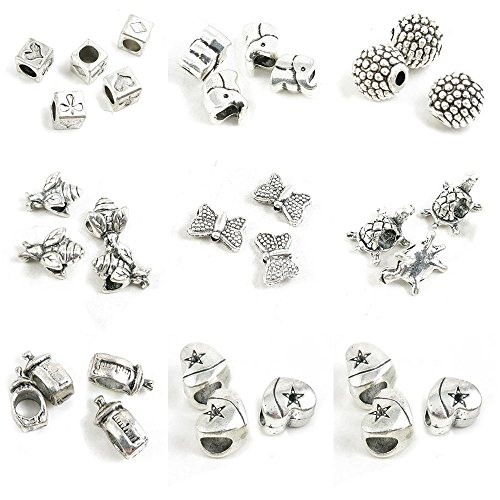 Charms Baby Bee (32 Pieces Antique Silver Tone Jewelry Making Charms Star Heart Loose Beads Baby Bottle Turtle Butterfly Bee Dots Ball Elephant Poker Suit)
