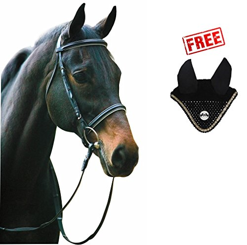 Henri de Rivel Horse Dressage Bridle and Web Reins with Free Fly Veil | Equestrian Leather Bridle | Pony Color - Black/White, Size - Bridle: Cob, Fly Bonnet: Pony