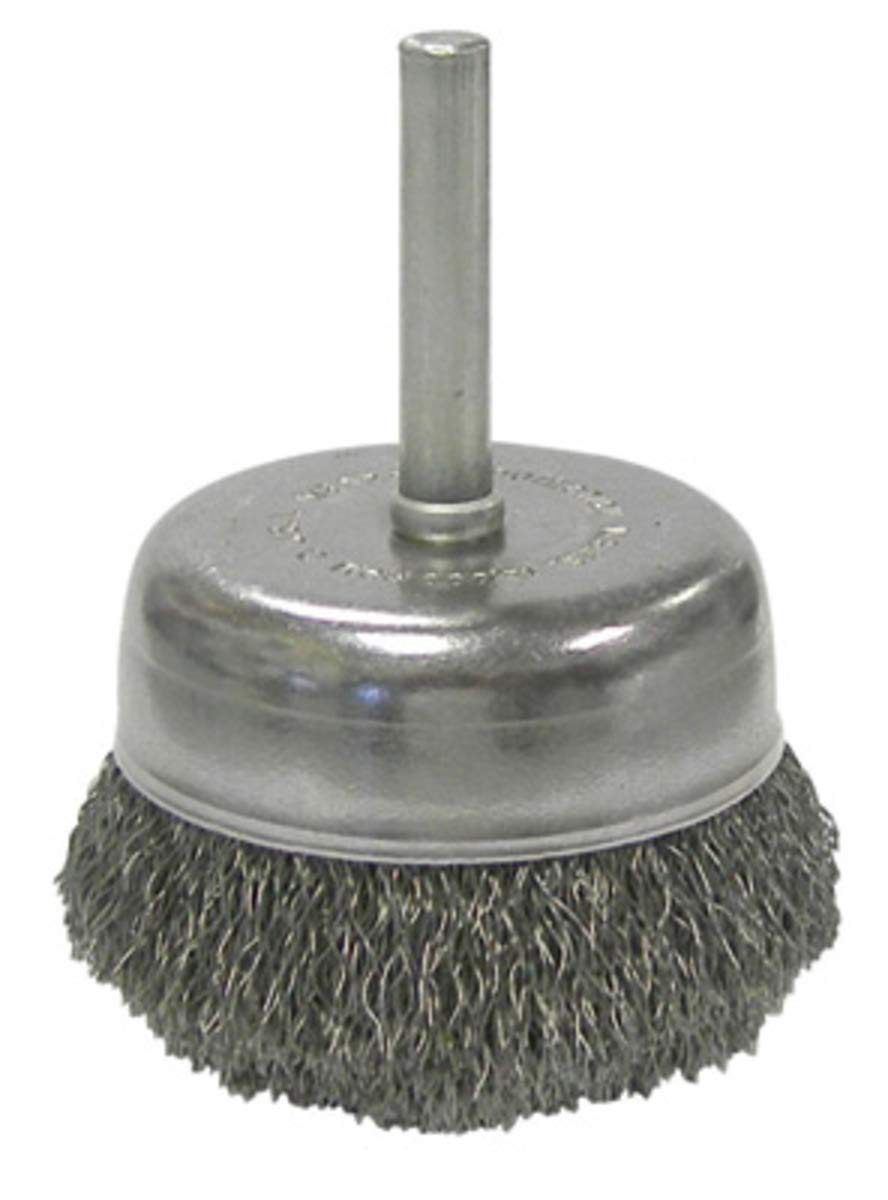 Weiler 2'' X 1/4'' 302 Stainless Steel Utility Stem-Mounted .0080'' Crimped Wire Cup Brush For Use On Drills, Die And Right Angle Die Grinders - 10 Each/Pack