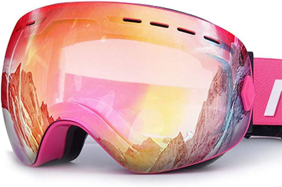 大人用スキーゴーグル、ユニセックスデュアルレイヤープロ防曇保護ゴーグル、ヘルメット対応リムーバブルレンズウィンタースポーツアイウェア,ピンク ピンク
