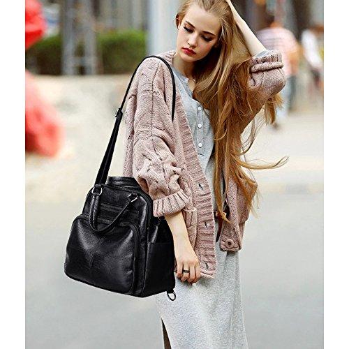 Mynos Vintage Multifunction Women Leather Handbags Shoulder Bag Travel Backpack For Women Tote Bag