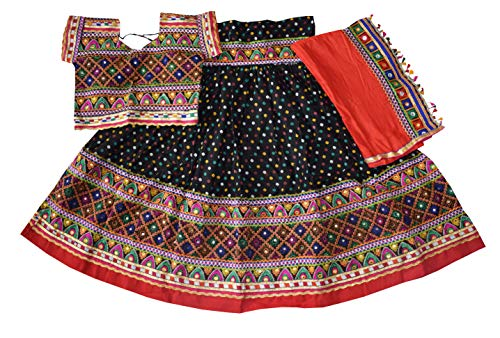Nanda Women Cotton Traditional Gujarati Chaniya Choli-Banjara Ghagra Choli-Bandhej Embroidered Lehenga Choli Black Free Size ()