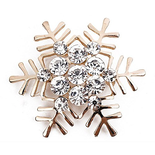 Christmas Brooches Pins Wholesale - Vi.yo Christmas Snowflake Brooch Scarf Pin Rhinestones Breastpin for Wedding Banquet Bouquet(Golden) X 1Pcs