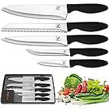 "Knife Set - Imarku 5-Piece Kitchen Knife Set with 8"" Chef's Knife, 8"" Bread Knife, 8"" Carving Knife,5"" Utility Knife, 3.5"" Paring Knife,Stainless Steel Kitchen Knives Set"