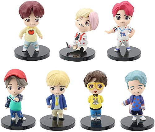 7PCS BTS Mini Idol Doll Deluxe Figure Play Set - BTS Cake Topper Action Figures - Toys BTS Party Supplier