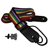 Ukulele Strap Pure Cotton Rainbow Colorful Strap with Leather End - FREE Uke Strap Button and eBook - Length: 49in - Best Gift For Boys Girls Adults and Kids